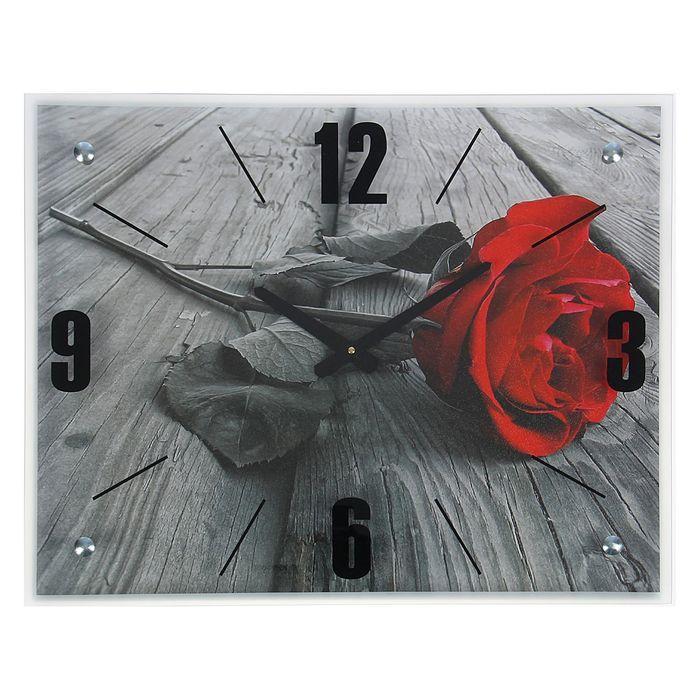 """Часы настенные, серия: Цветы, """"Красная роза"""", 40х50  см, микс"""