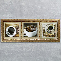 """Часы-картина настенные, серия: Кухня, """"Кофейные зерна"""", 35х100  см, микс, фото 1"""