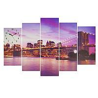 Часы настенные модульные «Вечерний Нью-Йорк», 80 × 140 см, фото 1