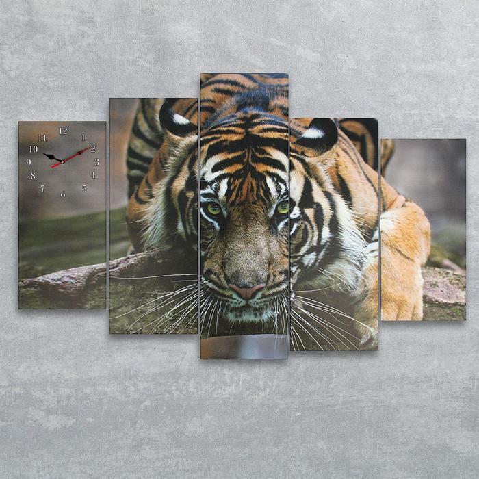 Часы настенные модульные «Тигр-хищник», 80 × 140 см