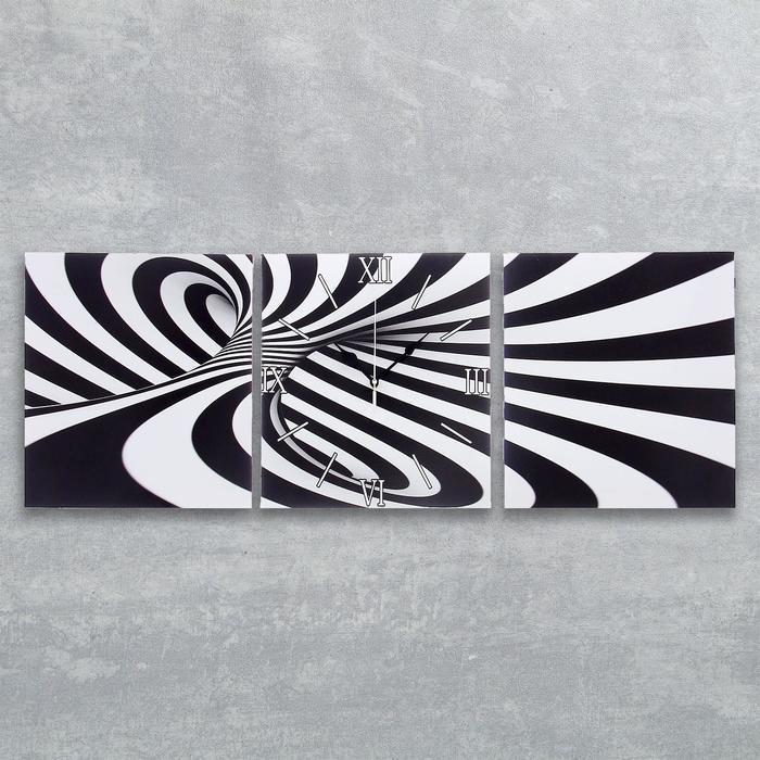 """Часы настенные, серия: Интерьер, модульные """"Черно-белая абстракция"""", 35х110  см, микс"""