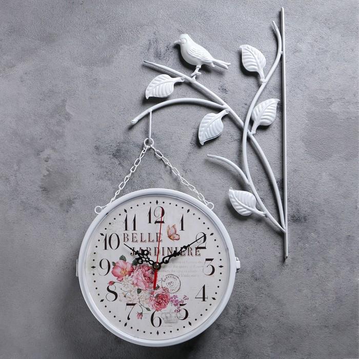 """Часы настенные двойные, серия: Садовые, """"Птички на ветке"""", белые, d=23 см"""