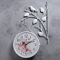 """Часы настенные двойные, серия: Садовые, """"Птички на ветке"""", белые, d=23 см, фото 1"""