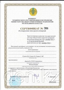 Сертификат на крановые весы «CAS»