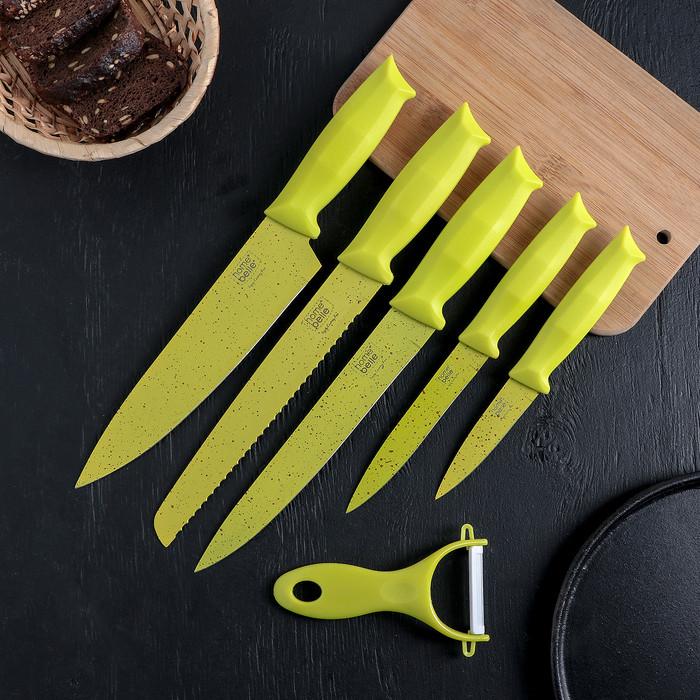 Набор «Клауд», 6 предметов: 5 ножей и овощечистка из керамики, цвет зелёный