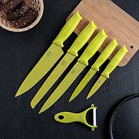Набор «Клауд», 6 предметов: 5 ножей и овощечистка из керамики, цвет зелёный, фото 1