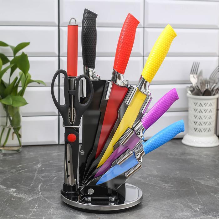 Набор «Радуга», 7 предметов: 5 ножей, лезвия 20/23/30/32/33 см, ножницы, мусат, на подставке