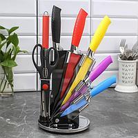 Набор «Радуга», 7 предметов: 5 ножей, лезвия 20/23/30/32/33 см, ножницы, мусат, на подставке, фото 1