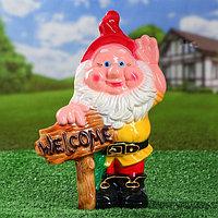 """Садовая фигура """"Гном Welcome"""", разноцветный, 35 см, фото 1"""