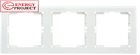 Рамка 3-местная  горизонтальная  КВАРТА белый IEK