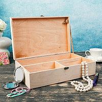 Подарочный ящик 34×34×10.5 см деревянный 3 отдела, с закрывающейся крышкой, без покраски, фото 1