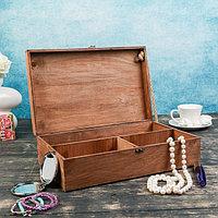 Подарочный ящик 34×34×10.5 см деревянный 3 отдела, с крышкой, светло-коричневый, фото 1