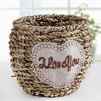 """Кашпо плетёное """"Я тебя люблю"""", цвет коричневый"""