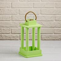"""Кашпо деревянное """"Фонарь"""", ручка верёвка, зелёный, 16×16×30 см"""