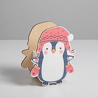 """Кашпо деревянное детское """"Пингвин"""" 17,2 х 21,6"""
