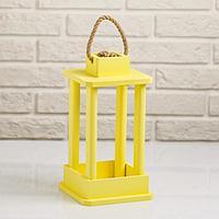 """Кашпо деревянное """"Фонарь"""", ручка верёвка, жёлтый, 16×16×30 см"""