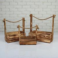 """Набор кашпо деревянных 3 в 1 (30.5×18.5×35; 25.5×15×30; 20×12×23) """"Аром"""", натуральный"""