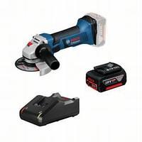 Аккумуляторная угловая шлифмашина Bosch GWS 18-125 V-LI + GBA 18 В 4.0 A*ч + GAL 18V-40