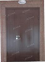 Дверь глухая двухстворчатая на заказ отделка МДФ