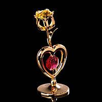 Сувенир «Тюльпан с сердцем», 3×3×8 см, с кристаллами Сваровски