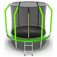 Батут EVO JUMP Cosmo Internal 8 ft, d=244 см, с внутренней защитной сеткой и лестницей, зелёный