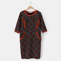 Платье женское, цвет серый/черный/оранжевый, размер 56
