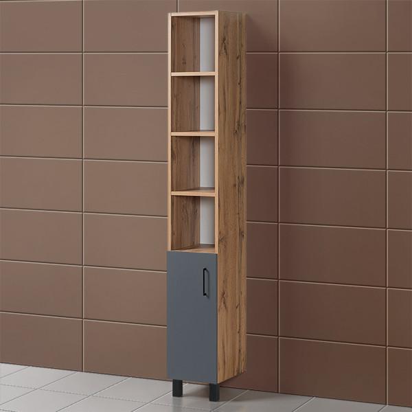 Шкаф для ванной «Акваль Лофт» 30 см. Черный матовый