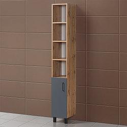Шкаф для ванной «Акваль Лофт» 30 см. серый матовый