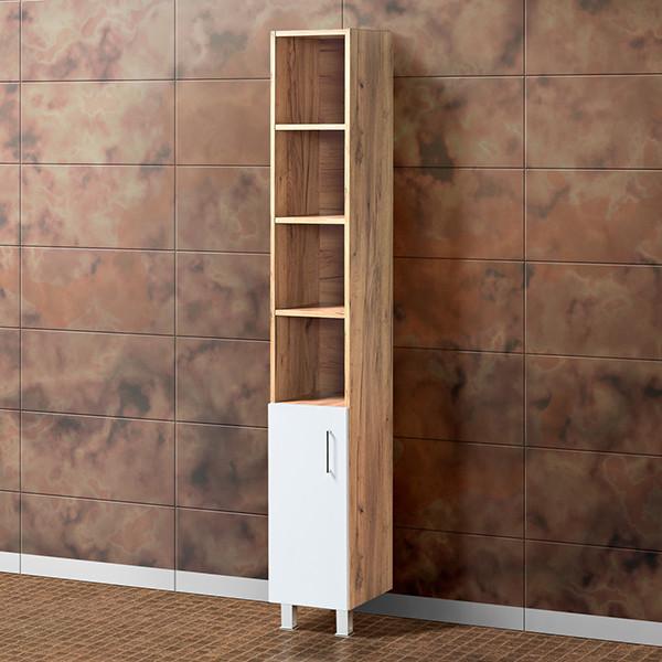 Шкаф для ванной «Акваль Лофт» 30 см. Белый матовый