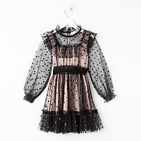 """Платье сетка с оборкой """"KAFTAN"""", чёрный, пудра, р-р 38 (146-152см), фото 1"""