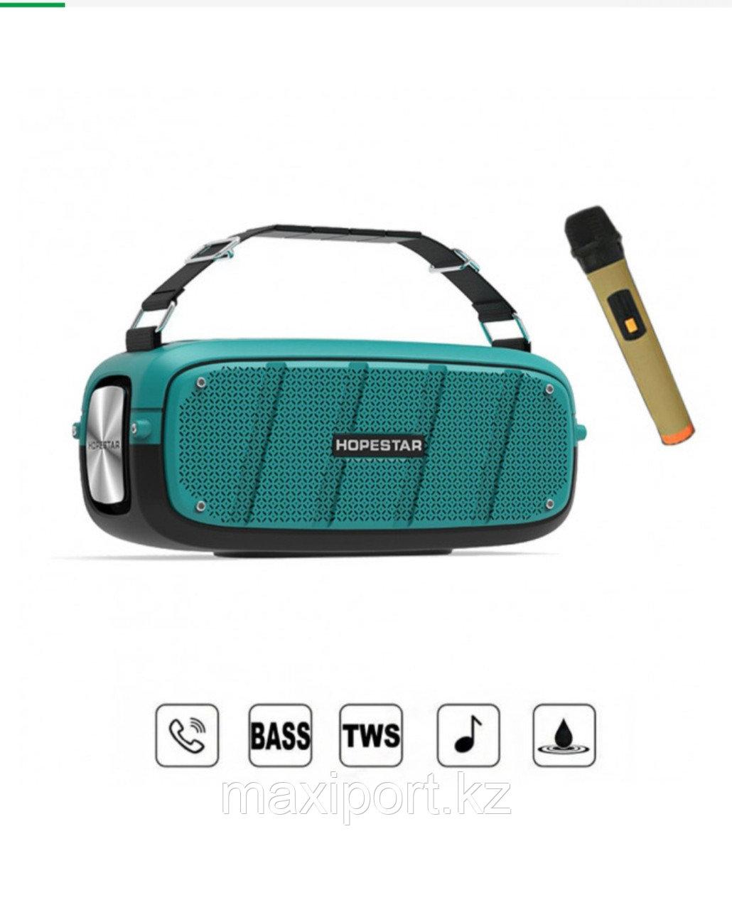 Портативная колонка Hopestar A20 Pro  Blue (в комплекте беспроводной микрофон для караоке).