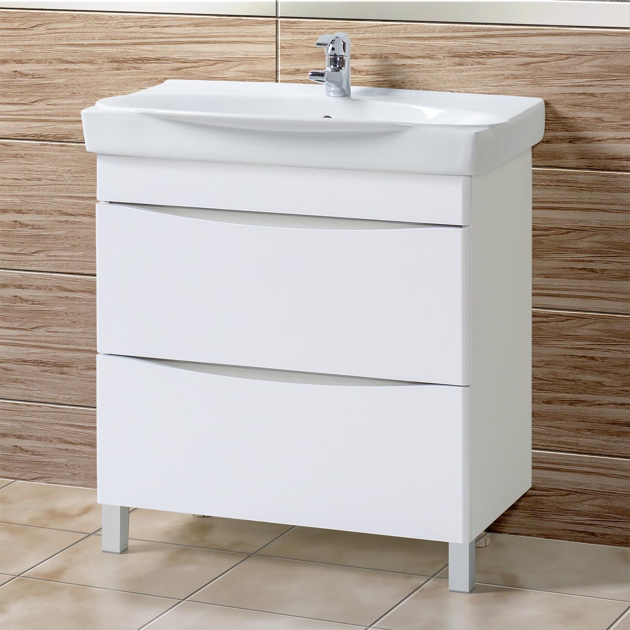 Комплект Тумба с умывальником для ванной «Акваль Верна» 80 см. (Умывальник Санти 80)