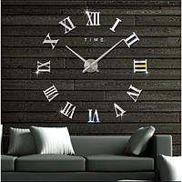 3D Большие настенные 3Д часы Римские цифры Золотистый серебристый и черный