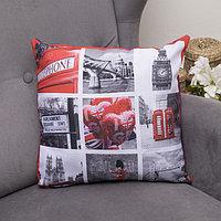 Подушка декоративная Англия 12, 40х40см, габардин, синтетич. волокно, 160 гр/м