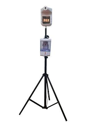 Стационарный инфракрасный бесконтактный термометр J02 со стойкой и диспенсером, фото 2