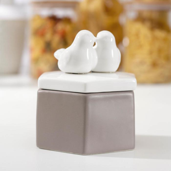 Банка для сыпучих продуктов «Белое крыло», 10,5×11,5 см, цвет серый