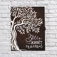"""Ключница-шкатулка """"Здесь живет счастье"""" дерево260х200х60мм, фото 1"""