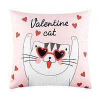 "Подушка ""Этель"" Valentine cat, 40х40 см, велюр, 100% п/э, фото 1"