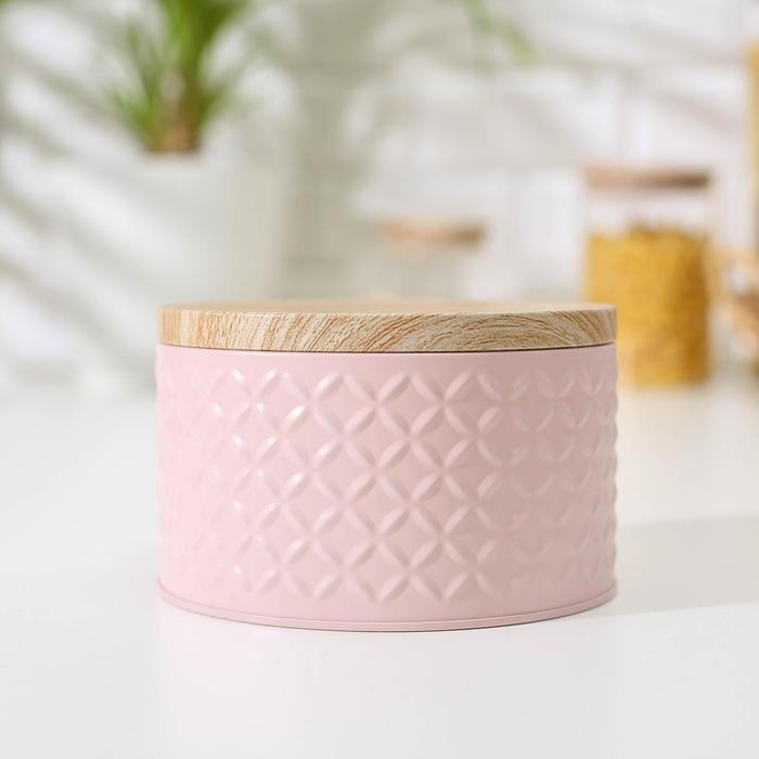 Банка для сыпучих продуктов «Сканди», 8×13,5 см, цвет розовый