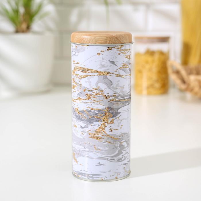 Банка для сыпучих продуктов «Золотой мрамор», 17,5×7,5×7,5 см, цвет белый