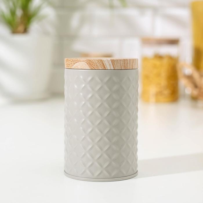 Банка для сыпучих продуктов «Сканди», 11,5×7,3 см, цвет серый