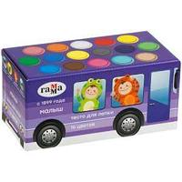 """Тесто для лепки Гамма """"Малыш. Автобус"""", 16 цветов, 960г, в подарочной коробке  Гамма"""