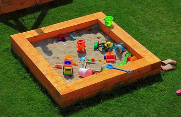 Песочница с сидушкой 150х150х30см