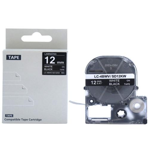 Картридж LC-4BWV  для Epson LabelWorks LW-300, LW-400 (лента 12mmx8m) ,белый на черном