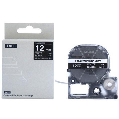 Картридж LC-4BWV  для Epson LabelWorks LW-300, LW-400 (лента 12mmx8m) ,белый на черном, фото 2