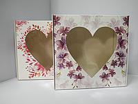 Коробка 20*20*7 см с окном-сердце
