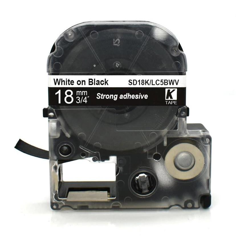 Картридж LC-5BWV  для Epson LabelWorks LW-300, LW-400 (лента 18mmx8m) ,белый на черном