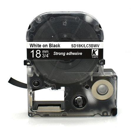 Картридж LC-5BWV  для Epson LabelWorks LW-300, LW-400 (лента 18mmx8m) ,белый на черном, фото 2