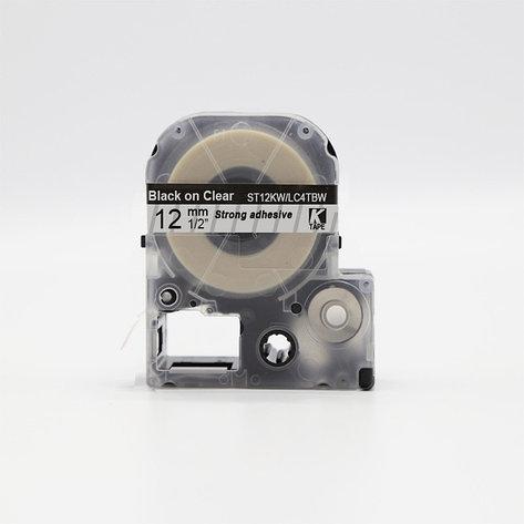 Картридж LC-4TBW  для Epson LabelWorks LW-300, LW-400 (лента 12mmx8m) ,черный на прозрачном, фото 2