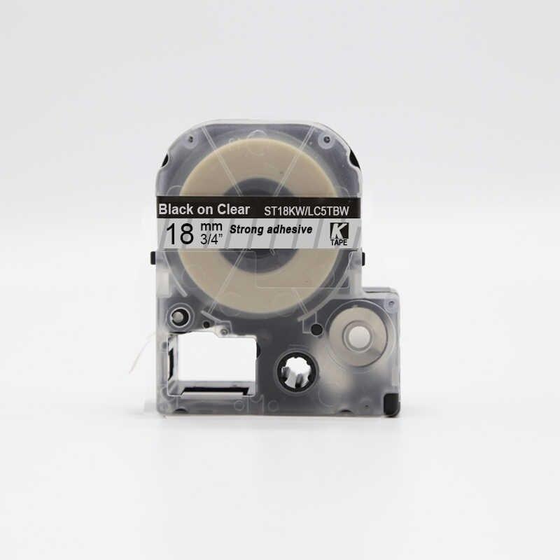 Картридж LC-5TBW  для Epson LabelWorks LW-300, LW-400(лента 18mmx8m),черный на прозрачном